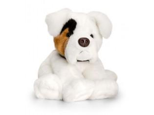Peluche de chien Boxer blanc, taille 35cm