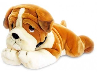 Peluche de chien Bulldog, taille 90cm