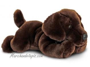 Peluche de chien Labrador Chocolat, taille 35cm