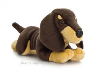 Peluche de chien Teckel, taille 35cm