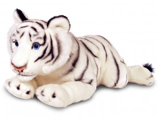 Peluche tigre blanc couché 100cm