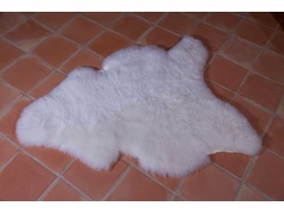 Peau de mouton, Blanc naturel 120/130cm poils courts