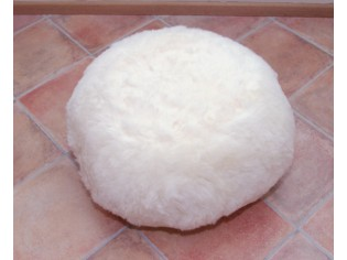 Pouf Peau de Mouton BAS Blanc poils courts