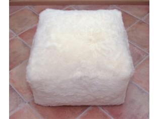 Pouf Peau de Mouton CARRE Blanc poils courts