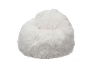 Pouf Peau de Mouton Junior Islande Poils Longs - Blanc naturel