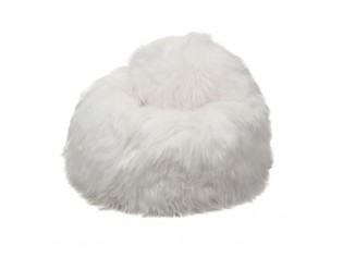 Pouf Peau de Mouton Islande Poils Longs - Blanc naturel