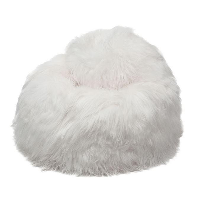 pouf peau de mouton islande poils longs blanc naturel. Black Bedroom Furniture Sets. Home Design Ideas