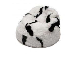 Pouf Peau de Mouton Islande Poils Courts - Blanc Taches Noires