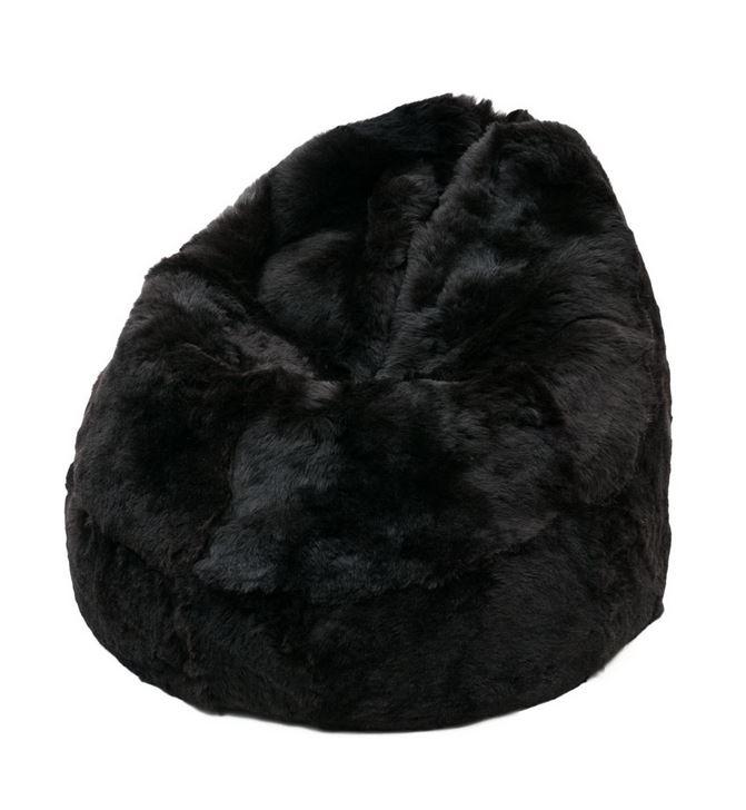 pouf peau de mouton islande poils courts noir marron. Black Bedroom Furniture Sets. Home Design Ideas