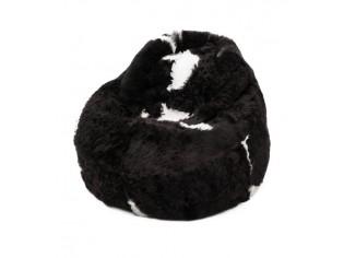 Pouf Peau de Mouton Islande Poils Courts - Noir Taches Blanches