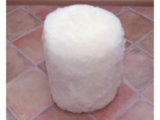 Pouf Peau de Mouton HAUT Blanc poils courts