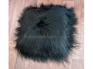 Coussin peau de mouton Noir Marron poils longs