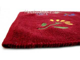 Tapis Chenille Rouge à fleurs 60cm x 90cm