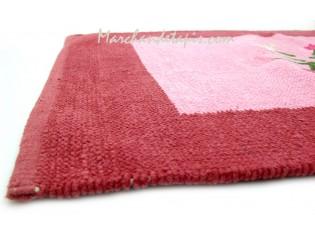 Tapis Chenille Rouge Rose et Fleurs 60cm x 90cm