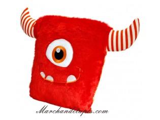 Coussin Peluche Monstre Rouge - Taille 30cm