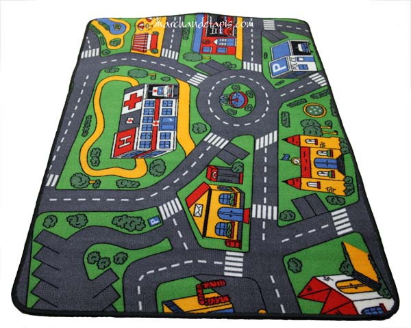 tapis enfant circuit voiture 93cmx133cm marchand de tapis spcialiste du tapis enfant de qualit. Black Bedroom Furniture Sets. Home Design Ideas
