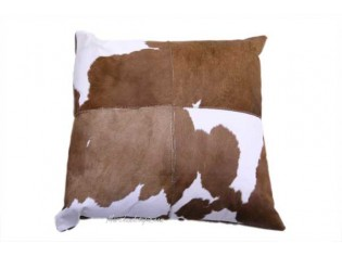 Coussin peau de veau 40x40cm Marron et Blanc