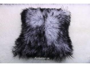 Coussin agneau du tibet Gris mèches noires 40cmx40cm