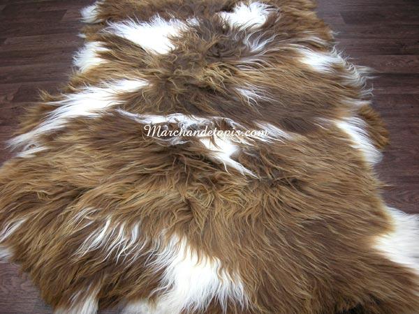 tapis peau de mouton 3 peaux marron rustique tpm016 tannage cologique marchand de tapis. Black Bedroom Furniture Sets. Home Design Ideas
