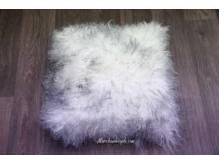 Coussin agneau du tibet Ivoire mèches grises 40cmx40cm