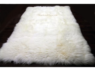 Tapis peau de mouton, 170cmx230cm, Blanc Naturel - UK Rectangle
