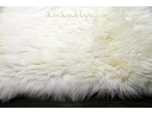 Tapis peau de mouton, 140cmx200cm, Blanc Naturel - UK - Bords droits -