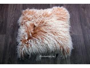 Coussin agneau du tibet Beige mèches ivoires 40cmx40cm