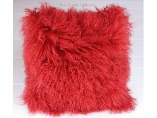 Coussin agneau du tibet rouge vif 40cmx40cm