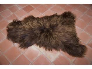 Peau de mouton Islande Poils longs Marron rustique naturel- 120/130cm 0 16