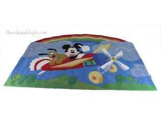 Tapis enfant Disney, Mickey et Pluto en avion, 115x168cm