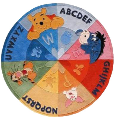 tapis enfant rond winnie alphabet 150cm tapis enfant disney slection marchand de tapis. Black Bedroom Furniture Sets. Home Design Ideas