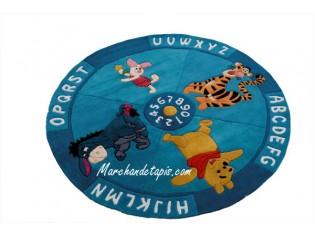 Tapis enfant Disney, Rond, Winnie, Alphabet et chiffres, 150cm