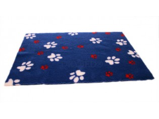 Tapis chien Drybed® antidérapant BLEU GROSSES PATTES BLANCHES ET ROUGES