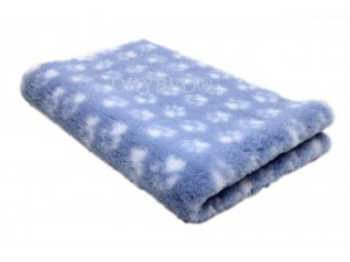Tapis chien Drybed® antidérapant BLEU CLAIR+ PATTES BLANCHES