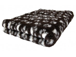 Tapis chien Drybed® antidérapant CHOCOLAT + PATTES BLANCHES