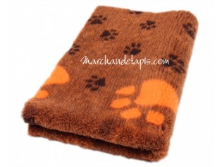 Tapis chien Drybed® antidérapant ORANGE CHOCOLAT GROSSES PATTES