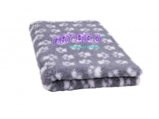 Tapis chien Drybed® antidérapant GRIS + PATTES BLANCHES