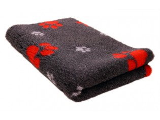 Tapis chien Drybed® antidérapant GRIS FONCE GROSSES PATTES ROUGES