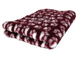 Tapis chien Drybed® antidérapant LIE DE VIN + PATTES BLANCHES
