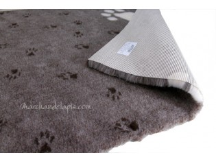 Tapis chien Drybed® antidérapant MARRON GROSSES PATTES BLANCHES
