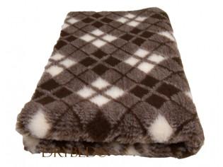 Tapis chien Drybed® antidérapant Tartan Chocolat et Magnolia