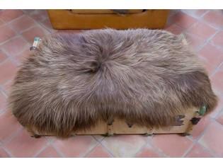 Peau de mouton Islande Poils longs Marron naturel- 110cm/120cm de long - 6211