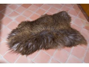 Peau de mouton Islande Poils longs Marron rustique naturel- 120/130cm 0-09