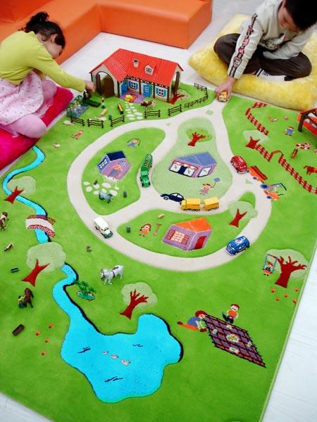 tapis enfant ferme turquoise ivi tapis enfant 3d espace de jeu slection marchand de tapis. Black Bedroom Furniture Sets. Home Design Ideas