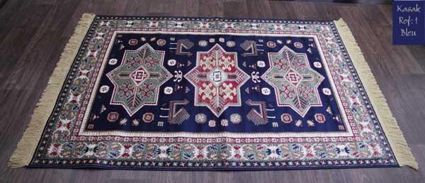 tapis kasak bleu motif 1 tr s joli tapis en viscose tapis fin avec franges de belle qualit. Black Bedroom Furniture Sets. Home Design Ideas