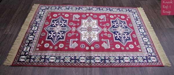 tapis kasak rouge motif 1 tr s joli tapis en viscose tapis fin avec franges de belle qualit. Black Bedroom Furniture Sets. Home Design Ideas