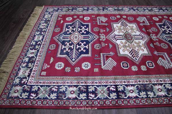 Tapis Kasak Rouge Motif 1 - Trs joli tapis en viscose, tapis fin avec ...