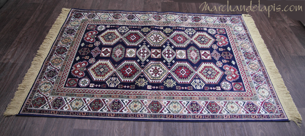 tapis kasak bleu motif 2 tr s joli tapis en viscose tapis fin avec franges de belle qualit. Black Bedroom Furniture Sets. Home Design Ideas
